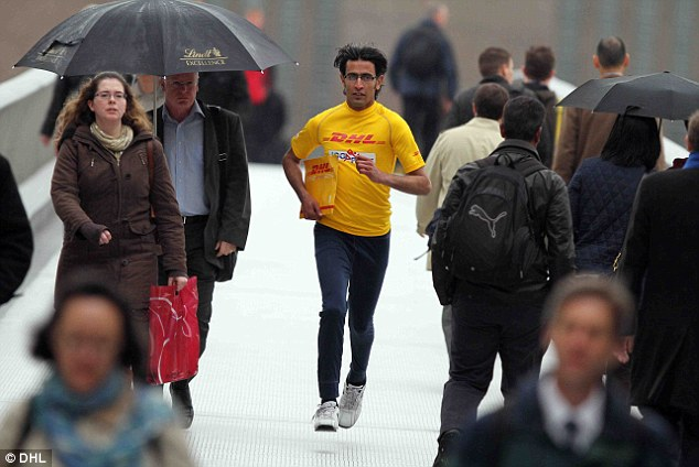 A DHL delivery runner