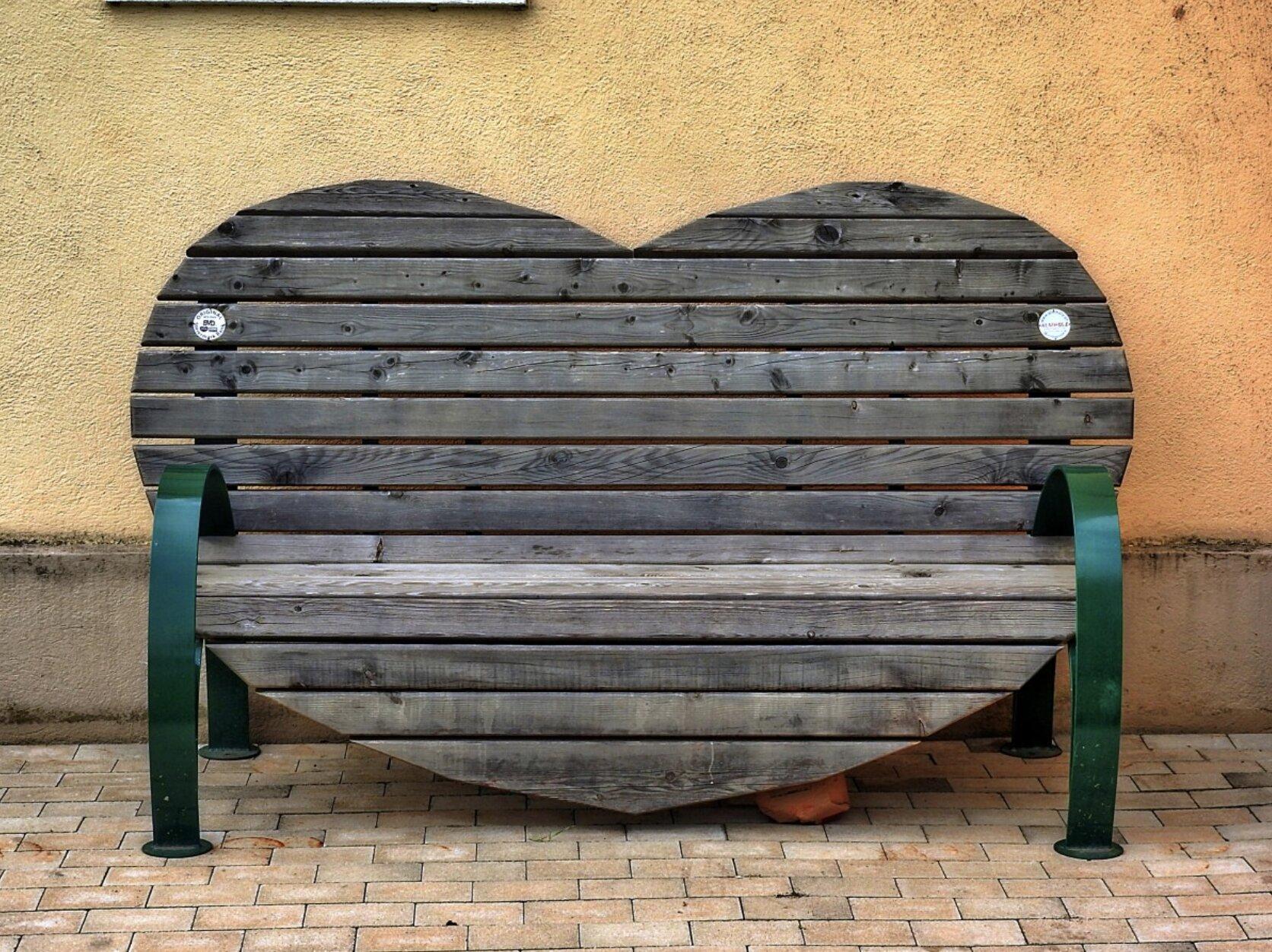 Heart shaped bench